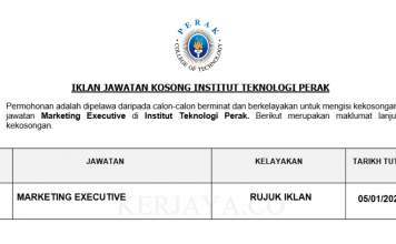 Institut Teknologi Perak ~ Marketing Executive