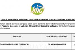 Jabatan Mineral Dan Geosains Malaysia ~ 35 Kekosongan Jawatan Pegawai Geosains