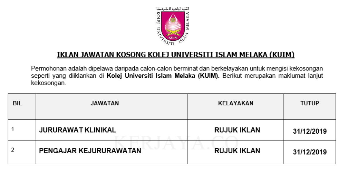 Kolej Universiti Islam Melaka (KUIM) ~ Jururawat & Pengajar Jururawat