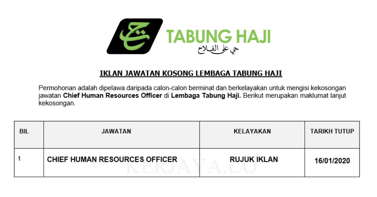 Jawatan Kosong Terkini Lembaga Tabung Haji Th Chief Human Resources Officer Kerja Kosong Kerajaan Swasta