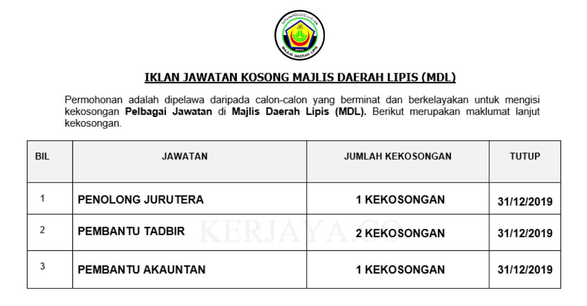 Majlis Daerah Lipis (MDL) ~ Pembantu Tadbir, Penolong Akauntan & Pembantu Jurutera