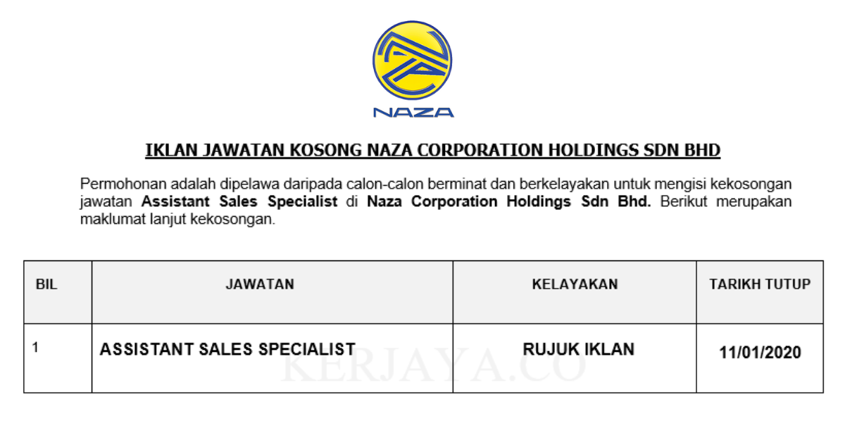 Naza Corporation Holdings ~ Assistant Sales Specialist