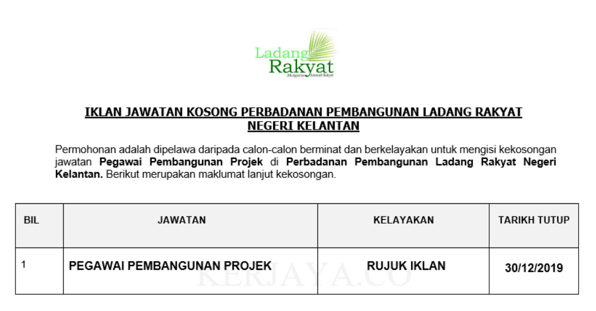 Perbadanan Pembangunan Ladang Rakyat Negeri Kelantan ~ Pegawai Pembangunan Projek