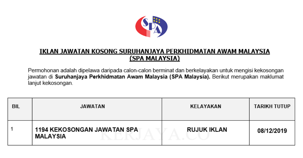 1194 Kekosongan Baru Suruhanjaya Perkhidmatan Awam Malaysia