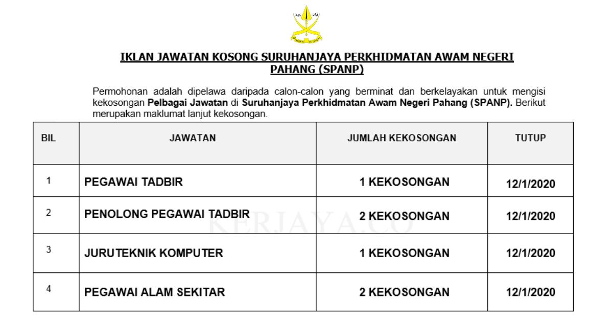 Suruhanjaya Perkhidmatan Awam Negeri Pahang (SPANP) ~ Pegawai Tadbir, Pen.Pegawai Tadbir, Peg. Alam Sekitar & Pelbagai Jawatan