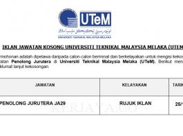 Universiti Teknikal Malaysia Melaka (UTeM) ~ Penolong Jurutera