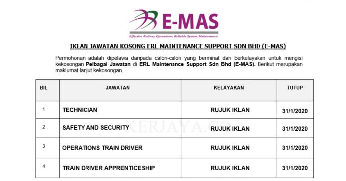 ERL Maintenance Support ~ Pelbagai Kekosongan Baru 2020
