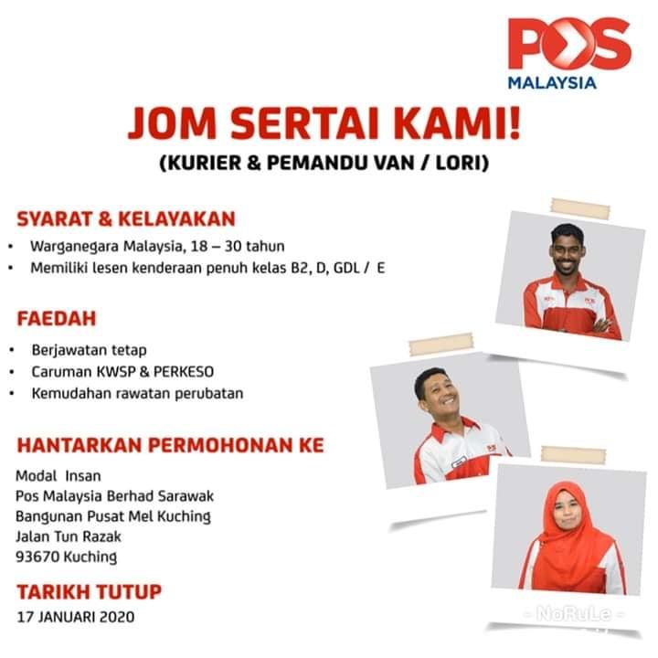 Iklan Jawatan Kerani Pos Malaysia