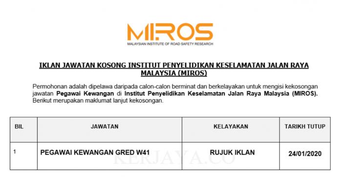 Institut Penyelidikan Keselamatan Jalan Raya Malaysia (MIROS) ~ Pegawai Kewangan