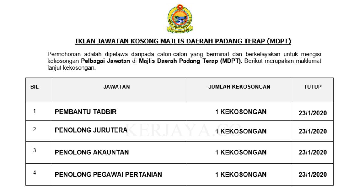 Majlis Daerah Padang Terap (MDPT) ~ Pembantu Tadbir, Penolong Akauntan & Pelbagai Jawatan