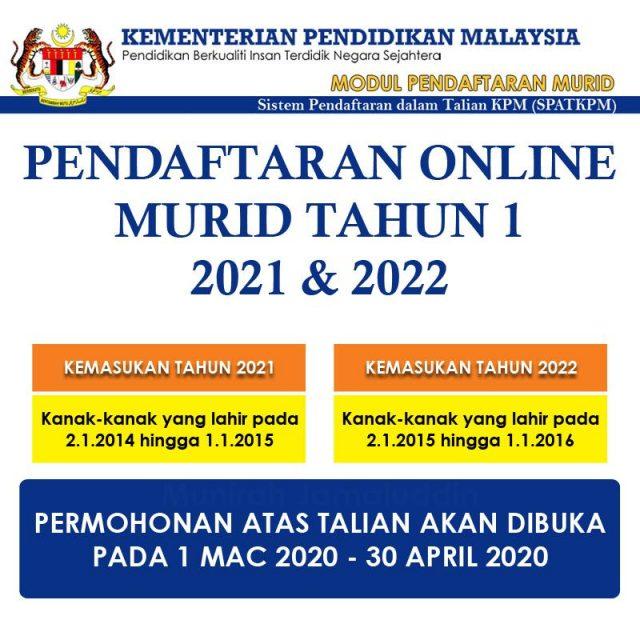 Permohonan Daftar Anak Darjah 1 Tahun 2021 2022