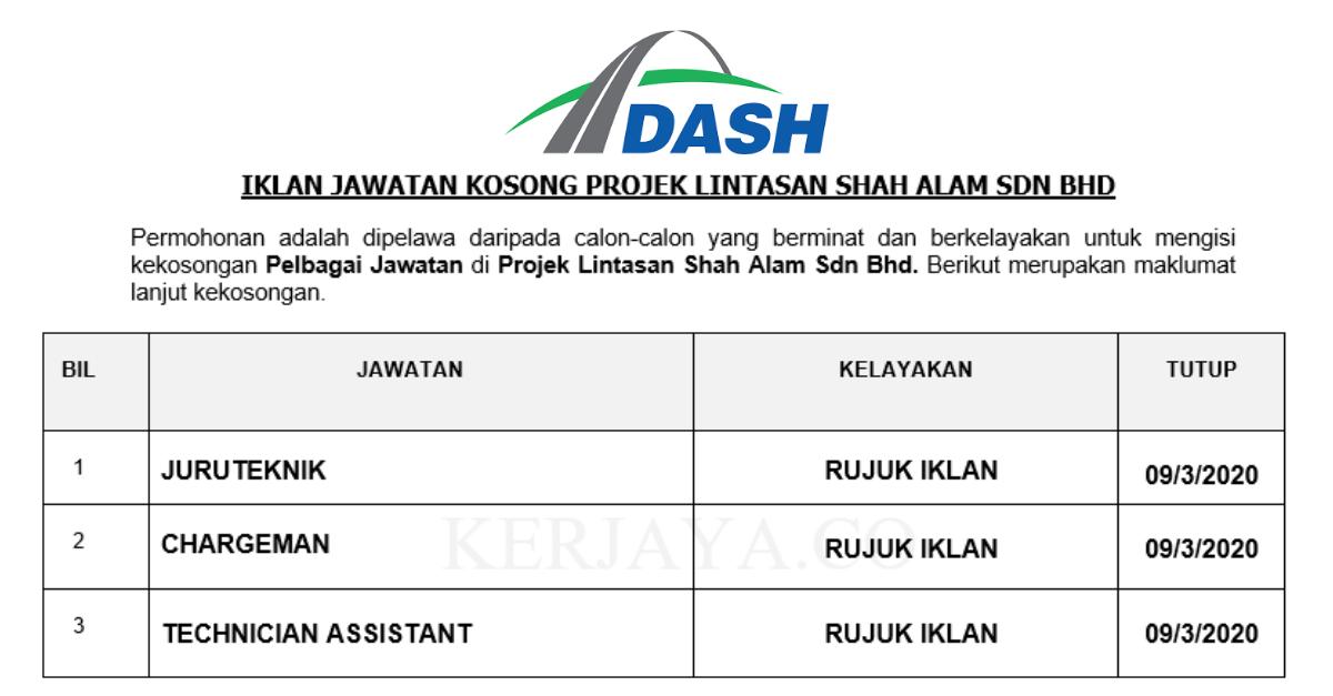 Jawatan Kosong Terkini Projek Lintasan Shah Alam Juruteknik Chargeman Pembantu Juruteknik Kerja Kosong Kerajaan Swasta