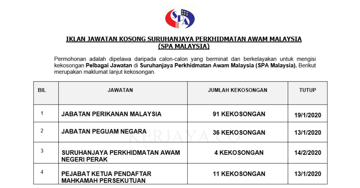 142 Kekosongan Baru Suruhanjaya Perkhidmatan Awam Malaysia (SPA MALAYSIA)
