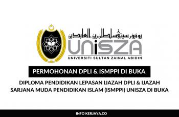 Permohonan Diploma Pendidikan Lepasan Ijazah DPLI & Ijazah Sarjana Muda Pendidikan Islam (ISMPPI) UniSZA di Buka