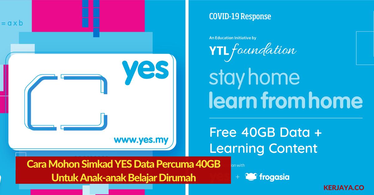 Cara Mohon Simkad Yes Data Percuma 40gb Untuk Anak Anak Belajar