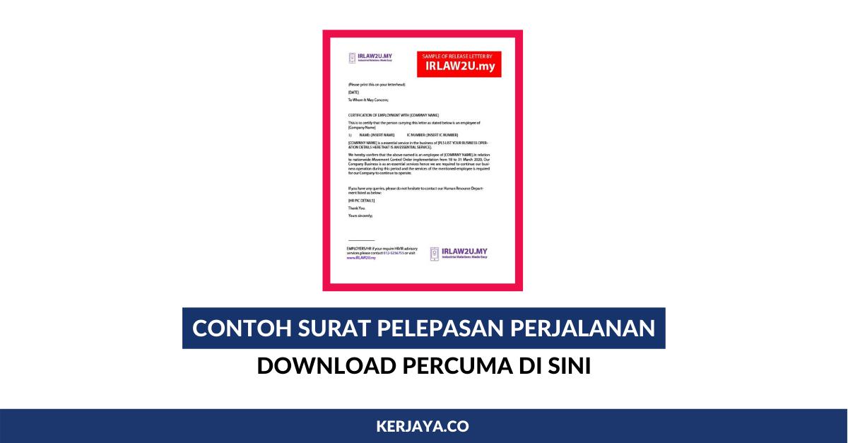 Contoh Surat Pelepasan Perjalanan Download Percuma Untuk Dijadikan Contoh
