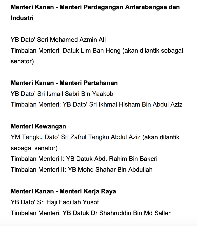 Menteri Kabinet Malaysia