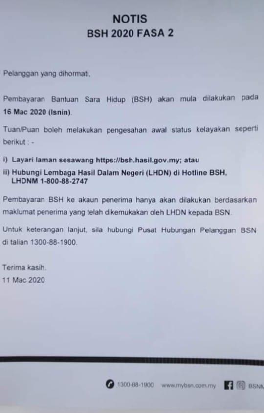 Notis Pembayaran BSH Fasa 2