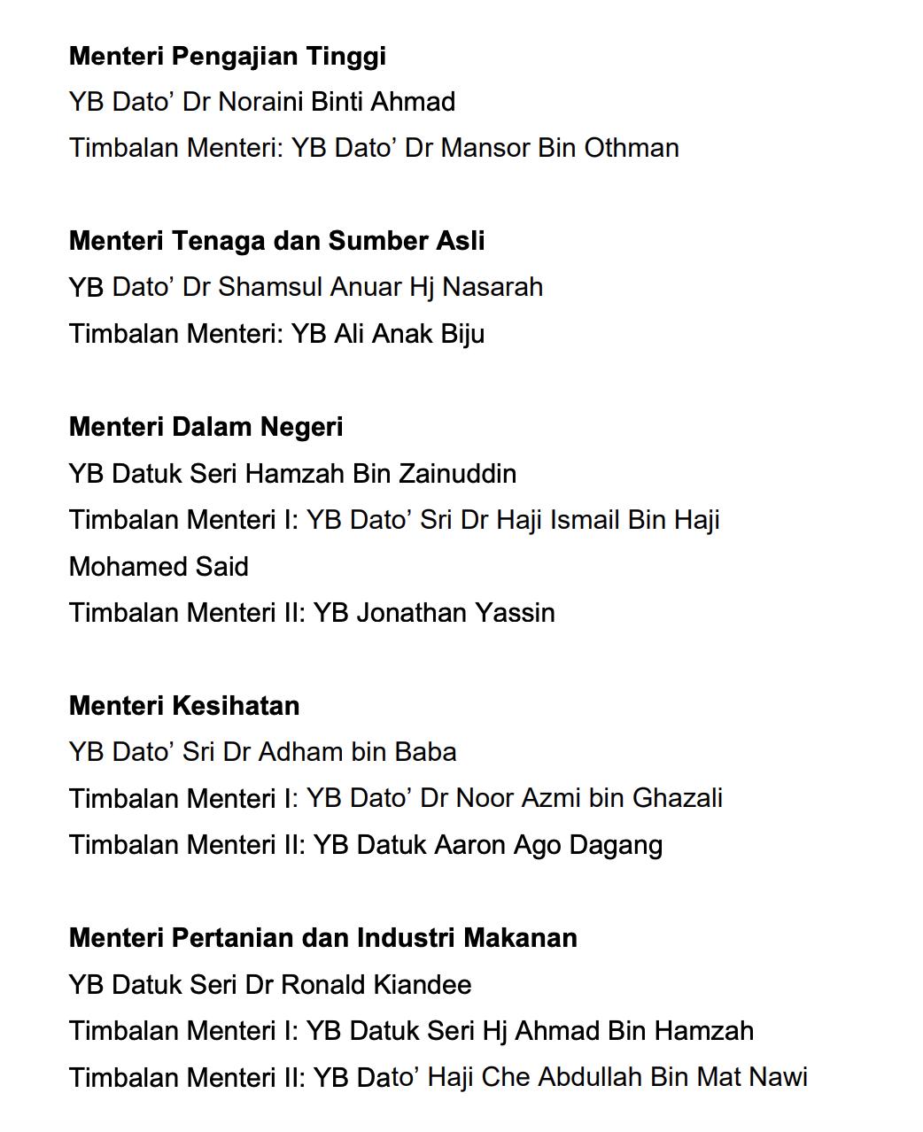 Senarai Menteri Kabinet Malaysia 4
