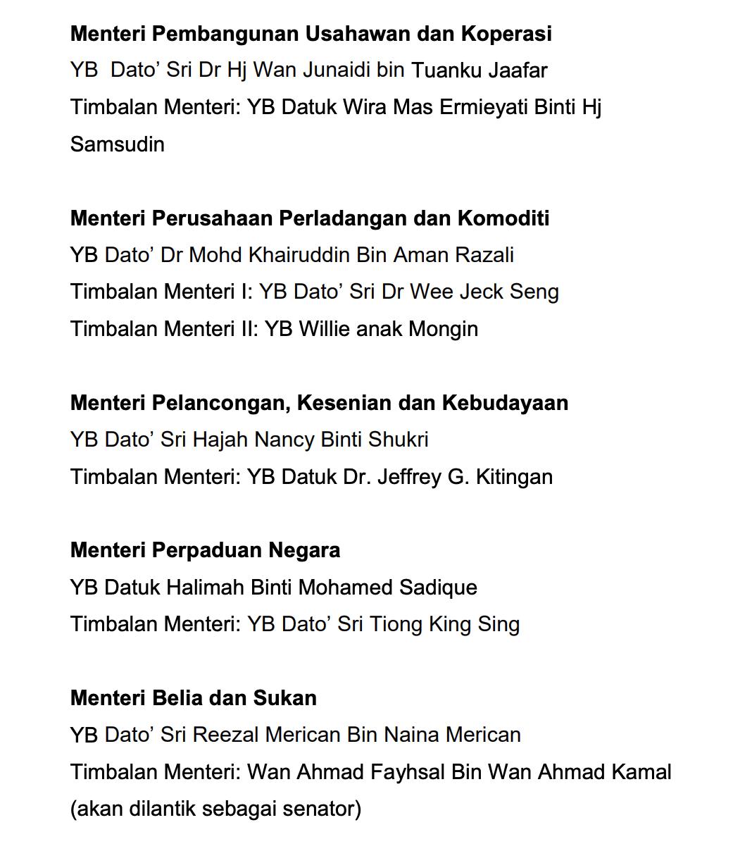 Senarai Menteri Kabinet Malaysia 6