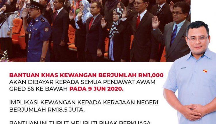 Bantuan RM1000 Untuk Penjawat Awam Selangor