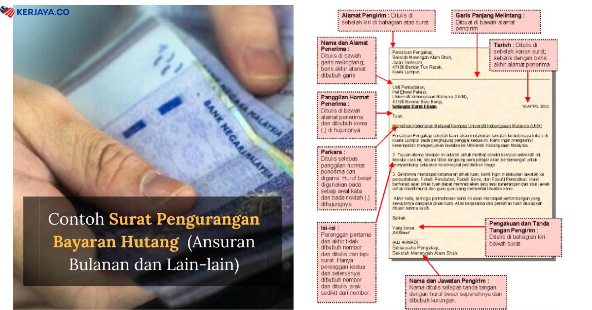 Contoh Surat Rayuan Pengurangan Bayaran Hutang Bulanan Ansuran Dan Lain Lain