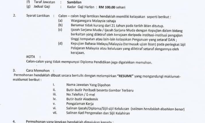 Iklan Jawatan Kosong Maktab Rendah Sains Mara Parit, Perak