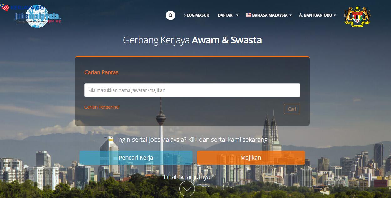 panduan daftar jobsmalaysia secara online untuk dapatkan