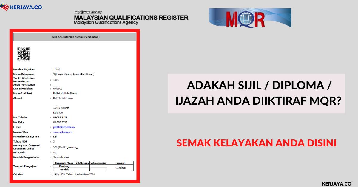 Adakah Sijil Diploma Ijazah Anda Diiktiraf Mqr Semak Kelayakan Anda Disini