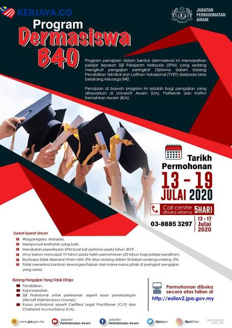 Program Dermasiswa B40 2020 Mohon Sekarang Secara Online