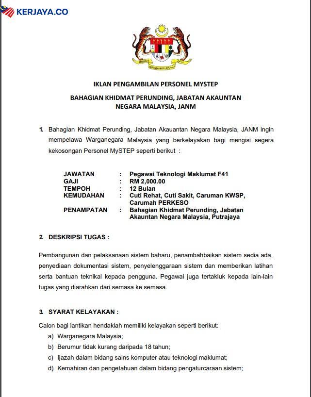 Iklan Jawatan Kosong Jabatan Akauntan Negara Malaysia ...