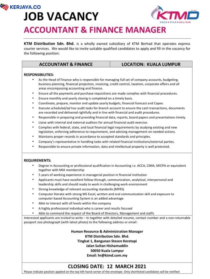 Iklan Jawatan Kosong KTM Distribution Sdn Bhd • Kerja ...